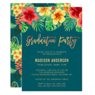 Tropical Watercolor Flower Graduation Party Invitation