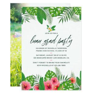 Tropical Watercolor Luau Graduation Party Photo Invitation