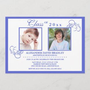 True Blue Photo Graduation Invitation