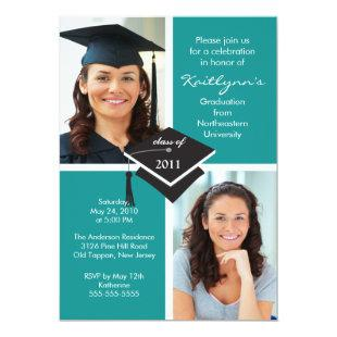 Turquoise Blue & White Photo Graduation Invitation