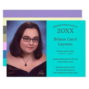 Turquoise Pastel Stripes Photo Graduation Invitation