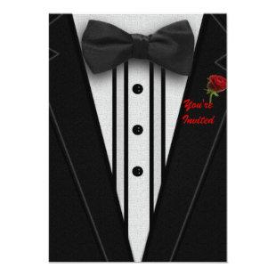 Tuxedo with Bow Tie Monogram Invitation