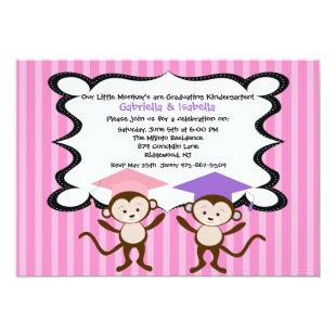 Twin Girlss Monkeying Around Graduation Invitation