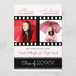 Twin Graduates Graduation Classic Film Theme Red Invitation