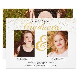Twins Graduation Photo Invitation
