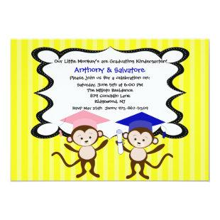 Twins Monkeying Around Graduation Invitation