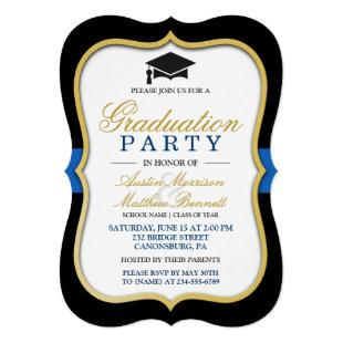 Two Grads - Gold Bracket Frame Graduation Party Invitation