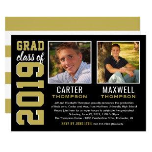 Two Graduates Black and Gold 2019 Graduation Party Invitation