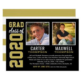 Two Graduates Black and Gold 2020 Graduation Party Invitation