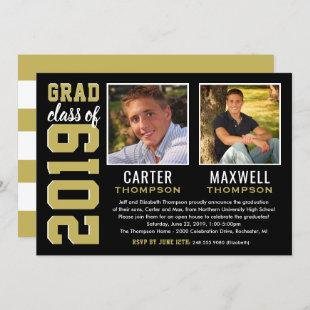 Two Graduates Black Gold Graduation Party Photo Invitation
