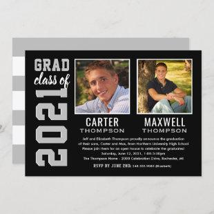 Two Graduates Black Gray Graduation Party Photo Invitation