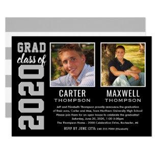 Two Graduates | Black Silver 2020 Graduation Party Invitation