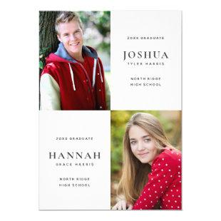 Two Graduates Double Graduation Party Invitation