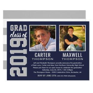 Two Graduates | Navy Blue 2019 Graduation Party Invitation