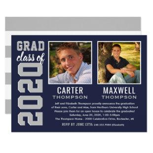Two Graduates | Navy Blue 2020 Graduation Party Invitation