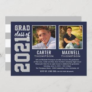 Two Graduates Navy Gray Graduation Party Photo Invitation