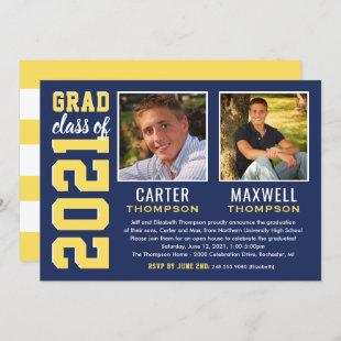 Two Graduates Navy Yellow Graduation Party Photo Invitation