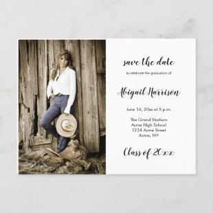 Two Photo Graduation Save The Date Announcement Postcard