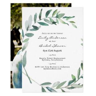 Typewriter Font Bridal Shower ADD PHOTO Invites