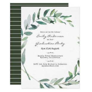 Typewriter Font Graduation Green Leaves Invites