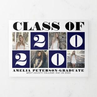 Typography Class of 2020 photo collage navy blue Tri-Fold Announcement