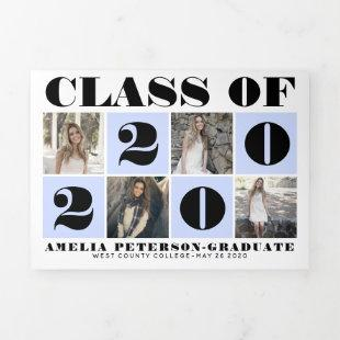 Typography Class of 2020 photo collage pale blue Tri-Fold Announcement