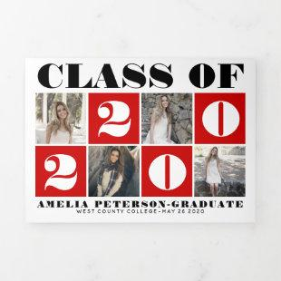 Typography Class of 2020 photo collage red Tri-Fold Announcement