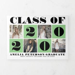 Typography Class of 2020 photo collage sage green Tri-Fold Announcement
