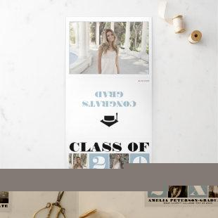Typography Class of 2021 photo collage dusty blue Tri-Fold Announcement
