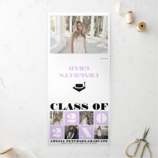 Typography Class of 2021 photo collage lavender  Tri-Fold Announcement