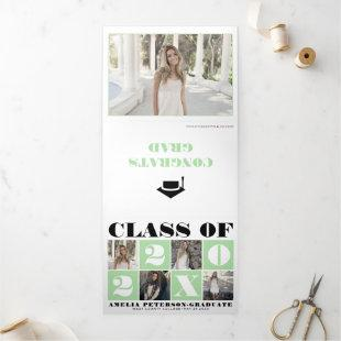 Typography Class of 2021 photo collage mint green Tri-Fold Announcement
