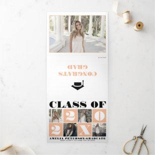 Typography Class of 2021 photo collage peach Tri-Fold Announcement