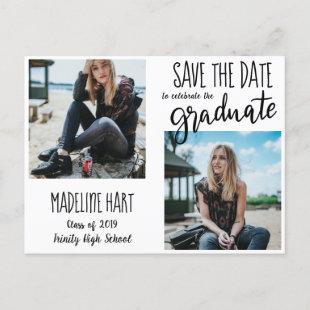 Typography Graduate   Save The Date Modern Photo Announcement Postcard