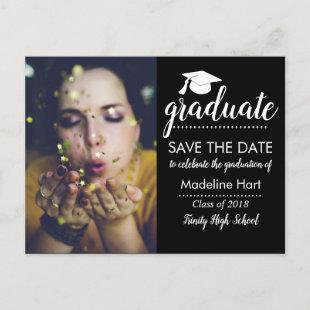 Typography Graduation Party | Save The Date Photo Announcement Postcard