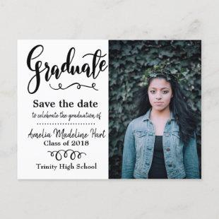 Typography Save The Date Graduation Party Photo Postcard