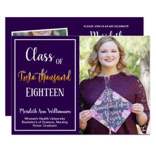 Ultra Violet Gold 2 Photo Graduation Party Invitation