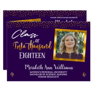 Ultra Violet Gold Confetti Photo Graduation Party Invitation