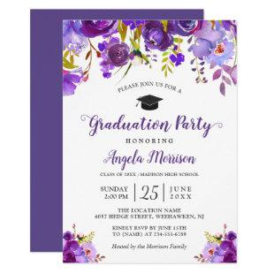 Ultra Violet Purple Floral Graduation Party Invitation
