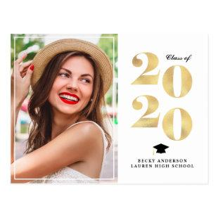Unique gold foil graduation announcement postcard