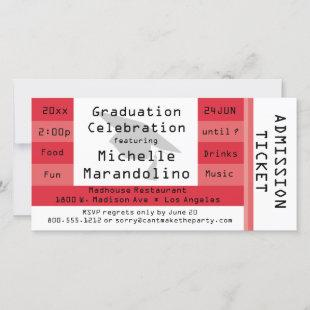 Unique Red Admission Ticket Party Invitation