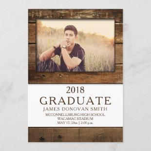 Unisex Rustic Barn Wood Photo Graduation Vertical Announcement