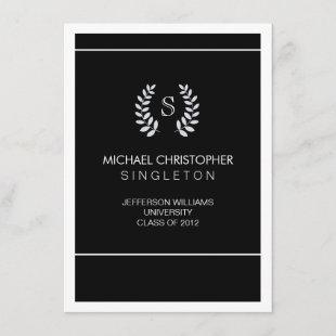 University Black & Silver Graduation Announcement