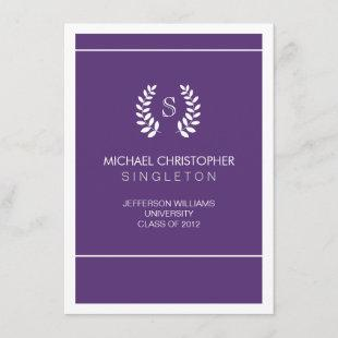 University Purple & White Graduation Announcement