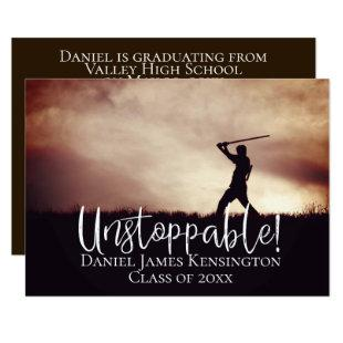 Unstoppable Modern Grad Photo Classic Graduation Invitation