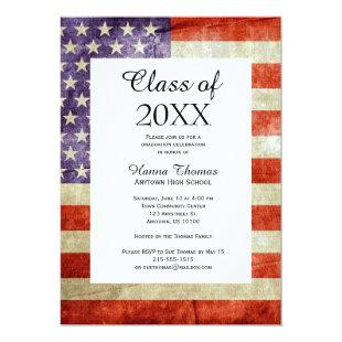 USA Flag Military Graduation Invitation