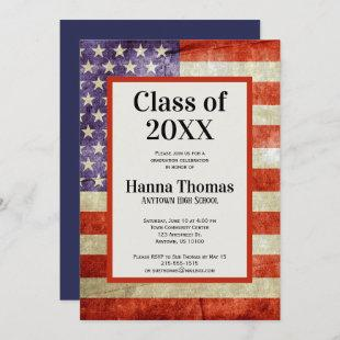 USA Flag Military Patriotic Graduation Invitation