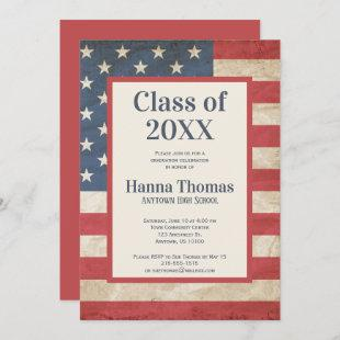 USA Flag Military Patriotic Vintage Graduation  In Invitation