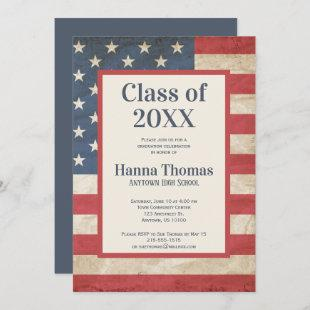USA Flag Military Patriotic Vintage Graduation  Invitation
