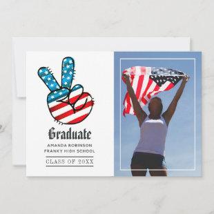 USA Peace Sign Graduation Photo Announcement
