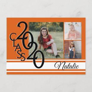 Varsity Orange 2020 Graduation Tri Photo Invitation